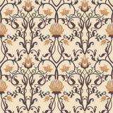 Διανυσματικό εκλεκτής ποιότητας σχέδιο λουλουδιών αναδρομική άνευ ραφής σύστ& Στοκ εικόνες με δικαίωμα ελεύθερης χρήσης