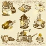 Διανυσματικό εκλεκτής ποιότητας σύνολο καφέ Στοκ Φωτογραφίες