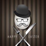 Διανυσματικό ενιαίο αυγό Hipster επάνω με το μαχαίρι και το δίκρανο σε καφετί Backgr Στοκ εικόνα με δικαίωμα ελεύθερης χρήσης