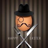 Διανυσματικό ενιαίο αυγό Hipster επάνω με το μαχαίρι και το δίκρανο σε καφετί Backgr Στοκ Φωτογραφίες