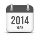 2014 διανυσματικό ημερολογιακό App έτους εικονίδιο με τη σκιά ελεύθερη απεικόνιση δικαιώματος