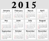 διανυσματικό ημερολόγιο έτους του 2015 Στοκ Φωτογραφίες