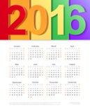 Διανυσματικό ημερολόγιο του 2016 Σχέδιο προτύπων Στοκ εικόνα με δικαίωμα ελεύθερης χρήσης