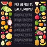 Διανυσματικό κάθετο υπόβαθρο φρούτων Σύγχρονο επίπεδο σχέδιο τρόφιμα ανασκόπησης υγιή Στοκ Εικόνες