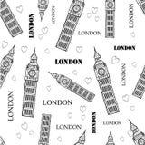 Διανυσματικό μαύρο άσπρο άνευ ραφής σχέδιο συμβόλων του Λονδίνου με τον πύργο, τις καρδιές και τις λέξεις Big Ben Τελειοποιήστε γ Στοκ Εικόνες