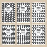 Διανυσματικό μαύρο σύνολο σχεδίων εκλεκτής ποιότητας υποβάθρου καρτών προτύπων φυλλάδιων εμβλημάτων αναδρομικών έξι κακογραμμένα  Στοκ εικόνα με δικαίωμα ελεύθερης χρήσης