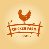 Διανυσματικό λογότυπο, κοτόπουλο στο φράκτη Προϊόντα από Στοκ Εικόνες