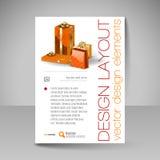 Διανυσματικό πρότυπο σχεδίου φυλλάδιων με τα πορτοκαλιά δώρα Χριστουγέννων Στοκ εικόνα με δικαίωμα ελεύθερης χρήσης