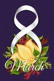 Διανυσματικό πρότυπο της ευχετήριας κάρτας της 8ης Μαρτίου Στοκ εικόνα με δικαίωμα ελεύθερης χρήσης