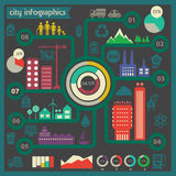 Διανυσματικό πρότυπο infographics πόλεων eco Lat Στοκ Εικόνες