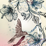 Διανυσματικό πλάτη ή σχέδιο με τα πουλιά και τα λουλούδια Στοκ φωτογραφία με δικαίωμα ελεύθερης χρήσης