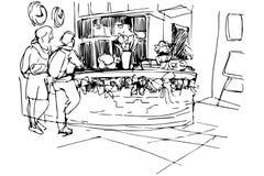 Διανυσματικό σκίτσο στον άνδρα και τη γυναίκα ξενώνων υποδοχής Στοκ Εικόνες