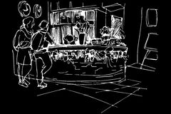 Διανυσματικό σκίτσο στον άνδρα και τη γυναίκα ξενώνων υποδοχής Στοκ Φωτογραφίες