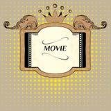 Διανυσματικό στάδιο με τον κενό πίνακα διαφημίσεων daytime house marquee movie neon old photograph κινηματογράφοι Στοκ φωτογραφίες με δικαίωμα ελεύθερης χρήσης