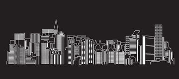 Διανυσματικό σχέδιο απεικόνισης τέχνης γραμμών κτηρίου εικονικής παράστασης πόλης Στοκ φωτογραφία με δικαίωμα ελεύθερης χρήσης