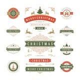 Διανυσματικό σχέδιο ετικετών και διακριτικών Χριστουγέννων Στοκ φωτογραφία με δικαίωμα ελεύθερης χρήσης