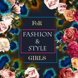Διανυσματικό σχέδιο μπλουζών μόδας με τα τριαντάφυλλα και peacock τα φτερά Στοκ εικόνες με δικαίωμα ελεύθερης χρήσης