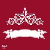 Διανυσματικό σύμβολο μοναρχών Εορταστικό γραφικό έμβλημα με πέντε αστέρια Στοκ φωτογραφία με δικαίωμα ελεύθερης χρήσης