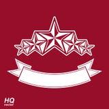 Διανυσματικό σύμβολο μοναρχών Εορταστικό γραφικό έμβλημα με το Πεντάγωνο πέντε Στοκ Εικόνα