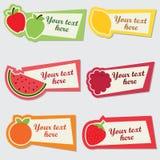 Διανυσματικό σύνολο αυτοκόλλητων ετικεττών φρούτων Στοκ φωτογραφία με δικαίωμα ελεύθερης χρήσης