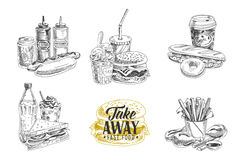 Διανυσματικό σύνολο γρήγορου φαγητού Απεικόνιση στο σκίτσο Στοκ Φωτογραφία