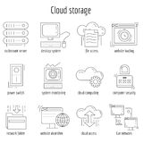 Διανυσματικό σύνολο γραμμικής αποθήκευσης σύννεφων εικονιδίων Στοκ Εικόνες