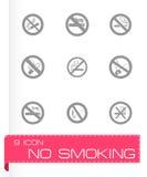 Διανυσματικό σύνολο εικονιδίων απαγόρευσης του καπνίσματος Στοκ Φωτογραφία