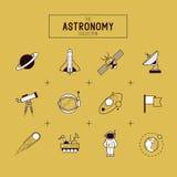 Διανυσματικό σύνολο εικονιδίων αστρονομίας Στοκ εικόνα με δικαίωμα ελεύθερης χρήσης