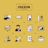 Διανυσματικό σύνολο εικονιδίων εκπαίδευσης Στοκ Εικόνες