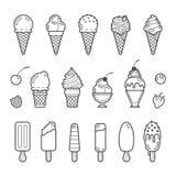 Διανυσματικό σύνολο εικονιδίων yummy παγωτού Στοκ Εικόνες
