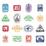 Διανυσματικό σύνολο εκλεκτής ποιότητας γραμματοσήμων ταχυδρομείου ταχυδρομικών τελών Στοκ Εικόνες