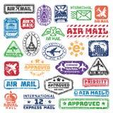 Διανυσματικό σύνολο εκλεκτής ποιότητας γραμματοσήμων ταχυδρομείου ταχυδρομικών τελών Στοκ Φωτογραφία