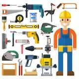 Διανυσματικό σύνολο εργαλείων ατόμων και οικοδόμησης κατασκευής Στοκ Εικόνες