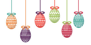 Διανυσματικό σύνολο ζωηρόχρωμων και περίκομψων αυγών Πάσχας Φρέσκο και σχέδιο άνοιξη για τις ευχετήριες κάρτες, κλωστοϋφαντουργικ Στοκ Εικόνα
