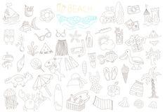 Διανυσματικό σύνολο καλοκαιριού doodles Στοκ φωτογραφίες με δικαίωμα ελεύθερης χρήσης