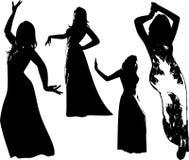 Διανυσματικό σύνολο μαύρων σκιαγραφιών των κοριτσιών στο φόρεμα Στοκ εικόνες με δικαίωμα ελεύθερης χρήσης