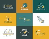 Διανυσματικό σύνολο λογότυπων σχεδίου πυραύλων που απομονώνεται Στοκ Φωτογραφίες