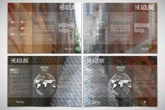 Διανυσματικό σύνολο προτύπου σχεδίου φυλλάδιων trifold Στοκ Εικόνες