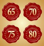 Διανυσματικό σύνολο σφραγίδας κεριών επετείου 65ης, 70ος, 75ος, 80ος Στοκ φωτογραφία με δικαίωμα ελεύθερης χρήσης