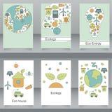 Διανυσματικό σύνολο φυλλάδιων και ιπτάμενων στο ύφος eco Στοκ Εικόνα