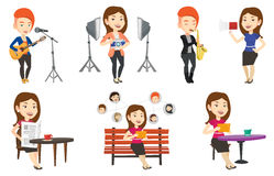 Διανυσματικό σύνολο χαρακτήρων ανθρώπων μέσων Στοκ εικόνες με δικαίωμα ελεύθερης χρήσης