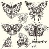 Διανυσματικό σύνολο filigree όμορφων πεταλούδων για το σχέδιο Στοκ Εικόνες