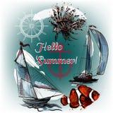 Διανυσματικό υπόβαθρο θάλασσας με τα ψάρια και σκάφος στο χαραγμένο ύφος Στοκ φωτογραφίες με δικαίωμα ελεύθερης χρήσης