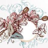 Διανυσματικό υπόβαθρο με συρμένα τα χέρι λουλούδια παπαρουνών χαραγμένος vint Στοκ φωτογραφία με δικαίωμα ελεύθερης χρήσης