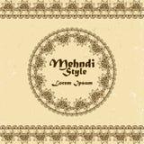 Διανυσματικό υπόβαθρο με συρμένα τα χέρι σύνορα και πλαίσιο στο ινδικό ύφος mehndi Στοκ φωτογραφία με δικαίωμα ελεύθερης χρήσης