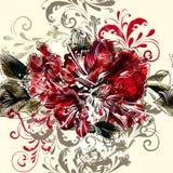 Διανυσματικό υπόβαθρο με τα λουλούδια αζαλεών χεριών Στοκ Εικόνες