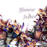 Διανυσματικό υπόβαθρο με τα λουλούδια και τα πουλιά κρίνων στο styl watercolor Στοκ Εικόνες
