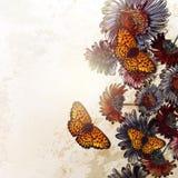 Διανυσματικό υπόβαθρο με τα λουλούδια μαργαριτών στο εκλεκτής ποιότητας ύφος Στοκ Εικόνες