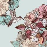 Διανυσματικό υπόβαθρο με τα λουλούδια magnolia και πουλί χαραγμένο sty Στοκ εικόνες με δικαίωμα ελεύθερης χρήσης