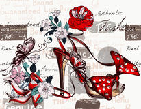 Διανυσματικό υπόβαθρο μόδας με τα θηλυκά παπούτσια υψηλά τακούνια Στοκ εικόνα με δικαίωμα ελεύθερης χρήσης
